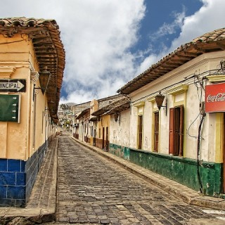 Guatemala, Antigua Cobblestone Street