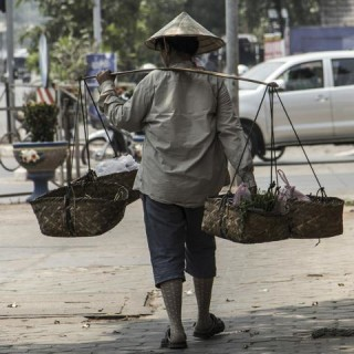 Laos, uomo al lavoro